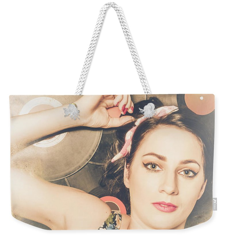 Disco Weekender Tote Bag featuring the photograph Jukebox Pin Up by Jorgo Photography - Wall Art Gallery