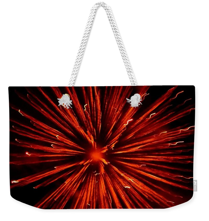 Fireworks Weekender Tote Bag featuring the photograph July 4 Fireworks by Eileen Brymer