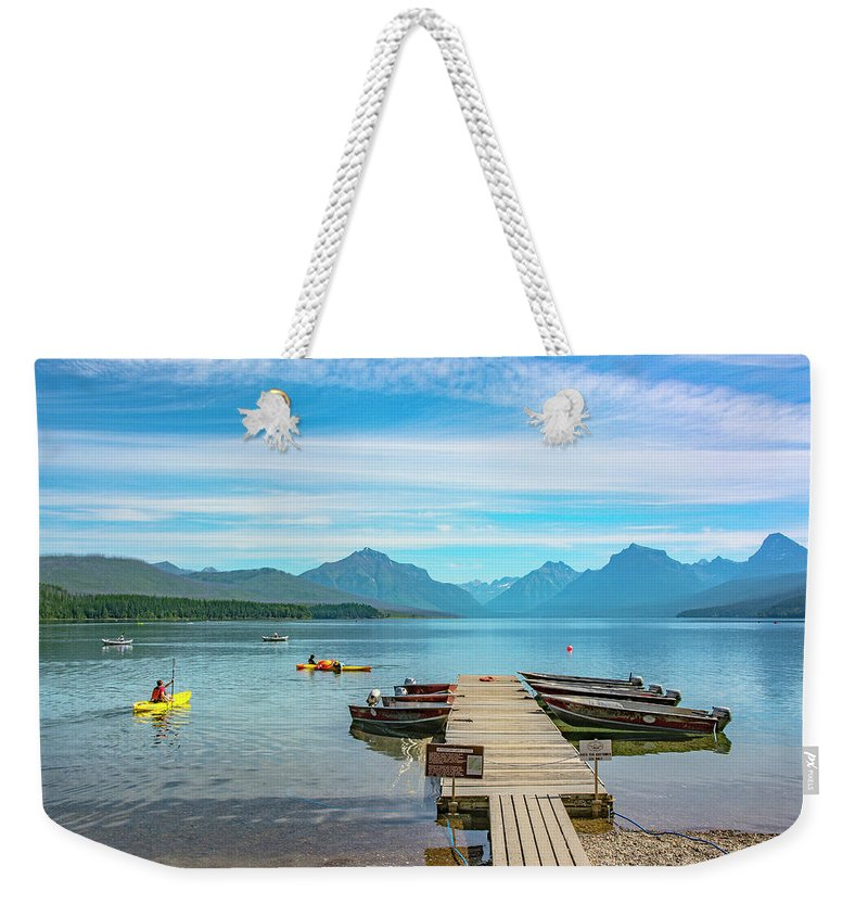 Montana Weekender Tote Bag featuring the photograph July 4th on Lake McDonald by Bryan Spellman