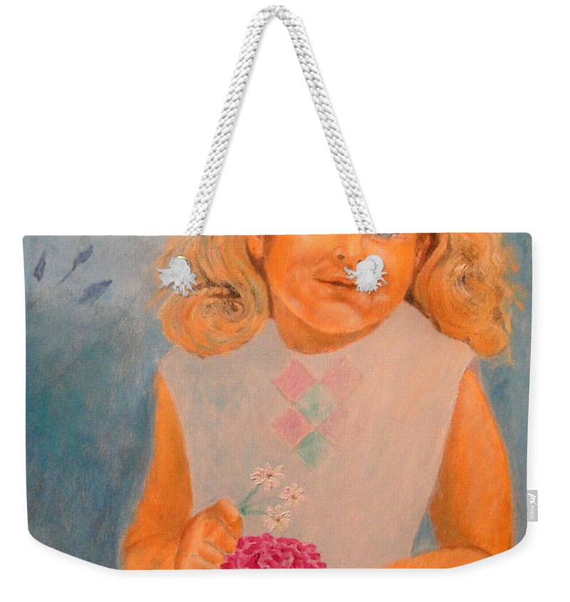 Portrait Weekender Tote Bag featuring the painting July - 50x69 Cm by Dagmar Helbig
