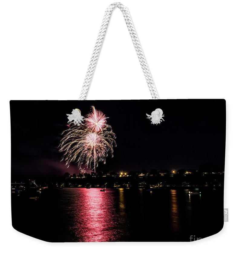 Weekender Tote Bag featuring the photograph July Fireworks by Marcia Darby