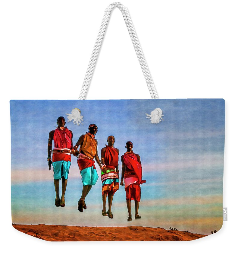 Africa Weekender Tote Bag featuring the photograph Jump 7071 by Karen Celella