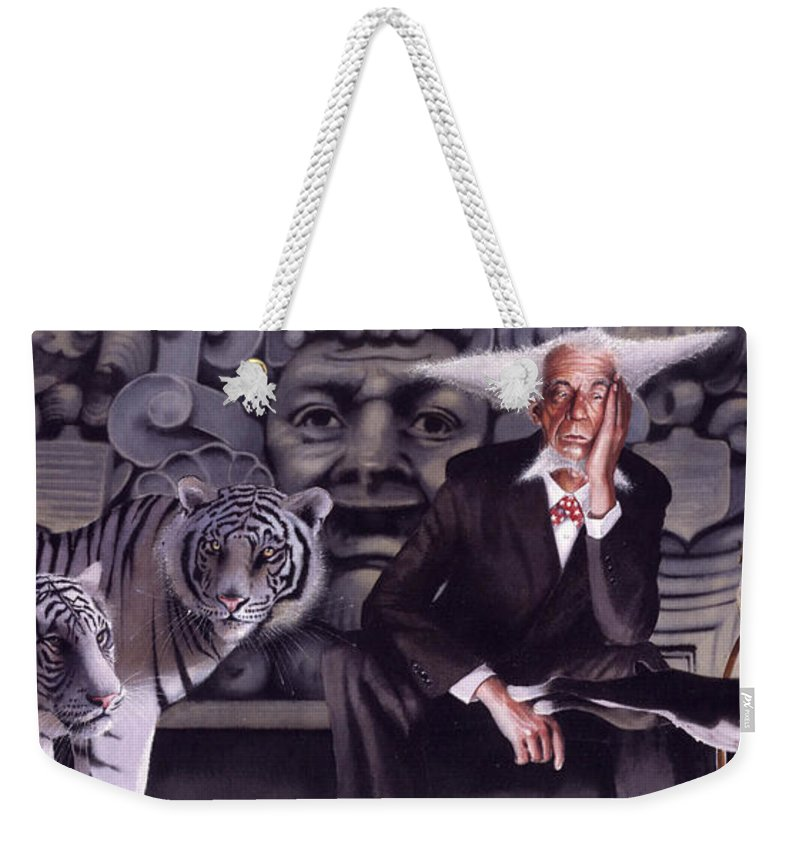 Tigers Weekender Tote Bag featuring the painting Jumping The Hoop by Denny Bond