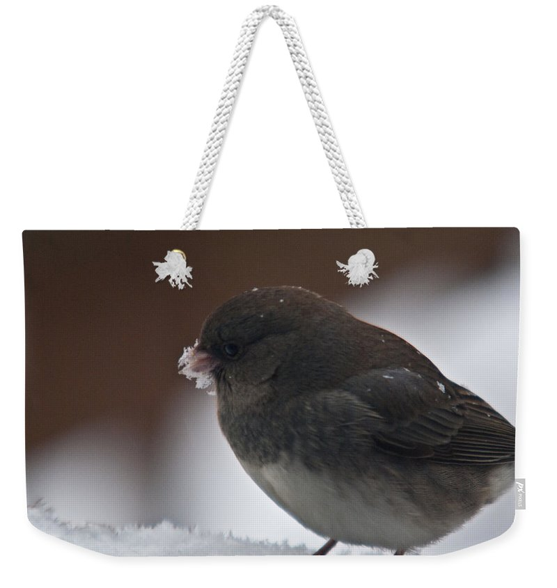 Junco Weekender Tote Bag featuring the photograph Junco In Snow by Douglas Barnett