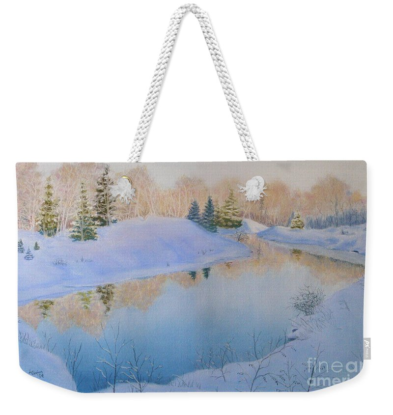 Landscape Weekender Tote Bag featuring the painting Junction Creek by Lynn Quinn