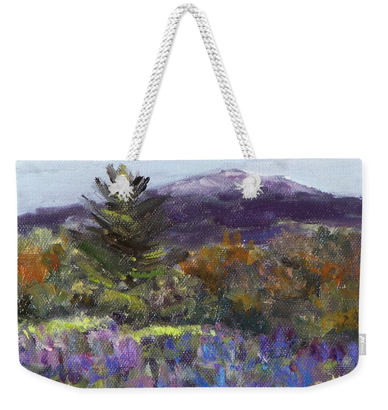 Original Oil Weekender Tote Bag featuring the painting June Carpet by Alicia Drakiotes