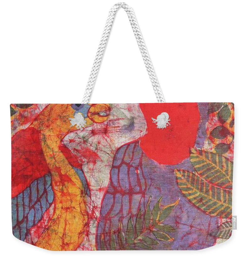Jungle Scene Weekender Tote Bag featuring the mixed media Jungle Chit Chat Batik by Caroline Street