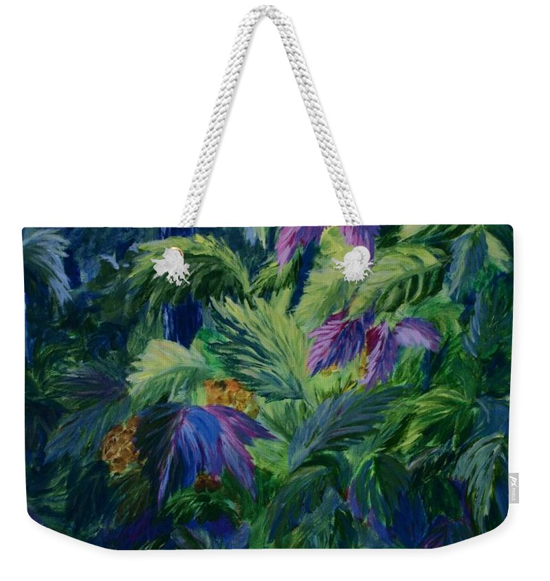 Jungle Weekender Tote Bag featuring the painting Jungle Delights by Joanne Smoley