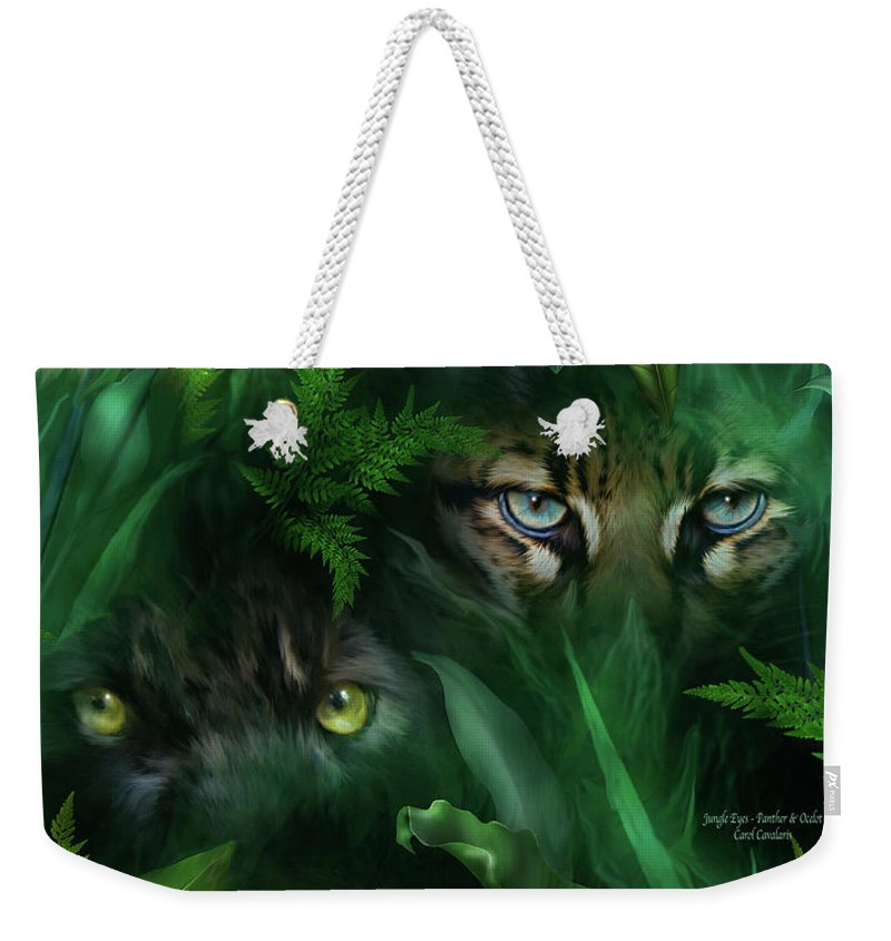 Big Cat Art Weekender Tote Bag featuring the mixed media Jungle Eyes - Panther And Ocelot by Carol Cavalaris