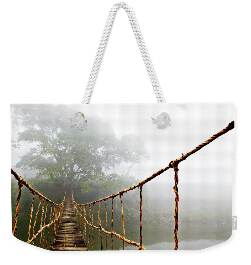 Rope Bridge Weekender Tote Bag featuring the photograph Jungle Journey by Skip Nall