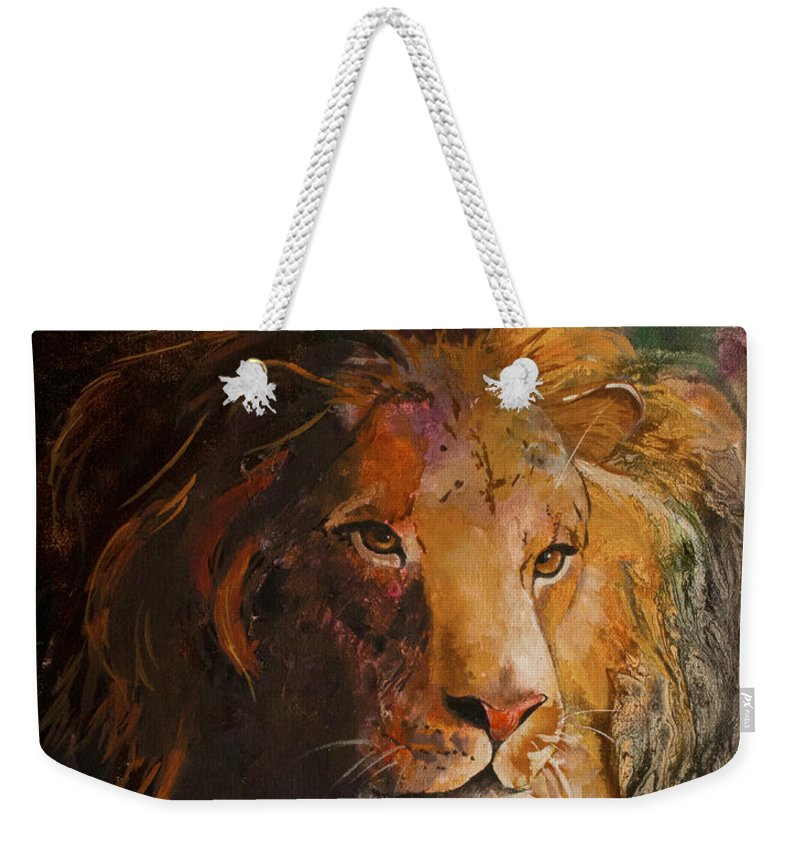 Lion Weekender Tote Bag featuring the painting Jungle Lion by Sherry Shipley