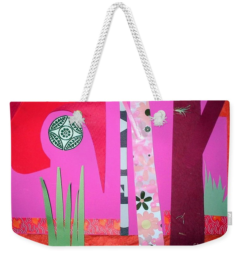 Landscape Weekender Tote Bag featuring the mixed media Jungle Temple by Debra Bretton Robinson