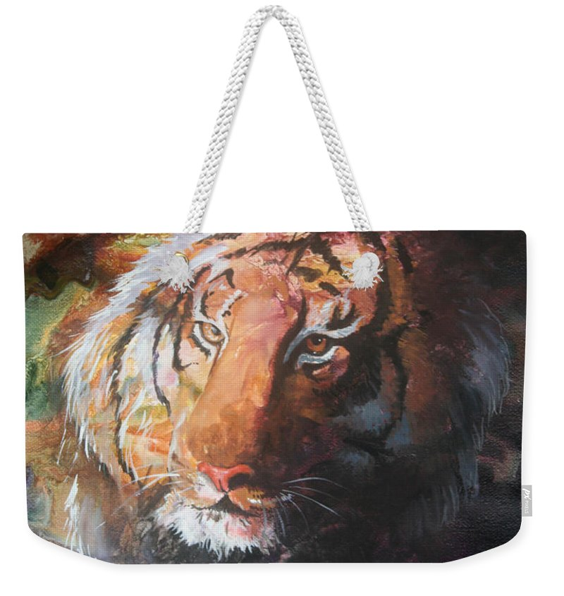 Tiger Weekender Tote Bag featuring the painting Jungle Tiger by Sherry Shipley