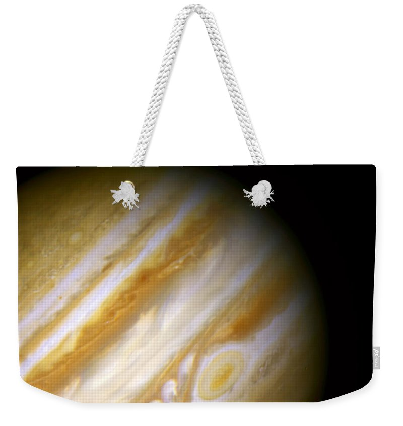 Nebula Weekender Tote Bag featuring the photograph Jupiter And The Great Red Spot by Jennifer Rondinelli Reilly - Fine Art Photography