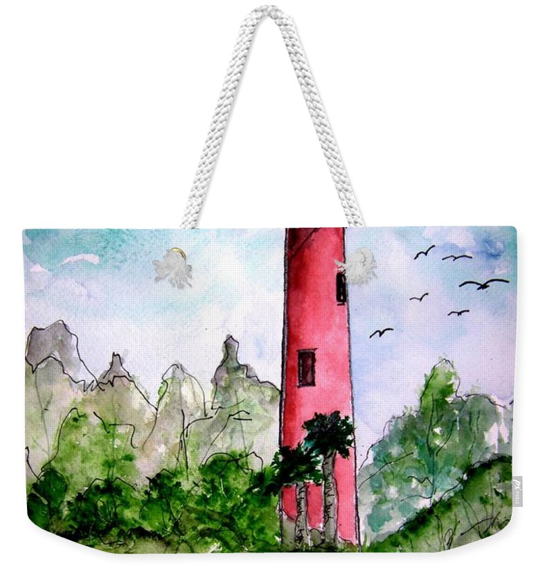 Lighthouse Weekender Tote Bag featuring the painting Jupiter Florida Lighthouse by Derek Mccrea