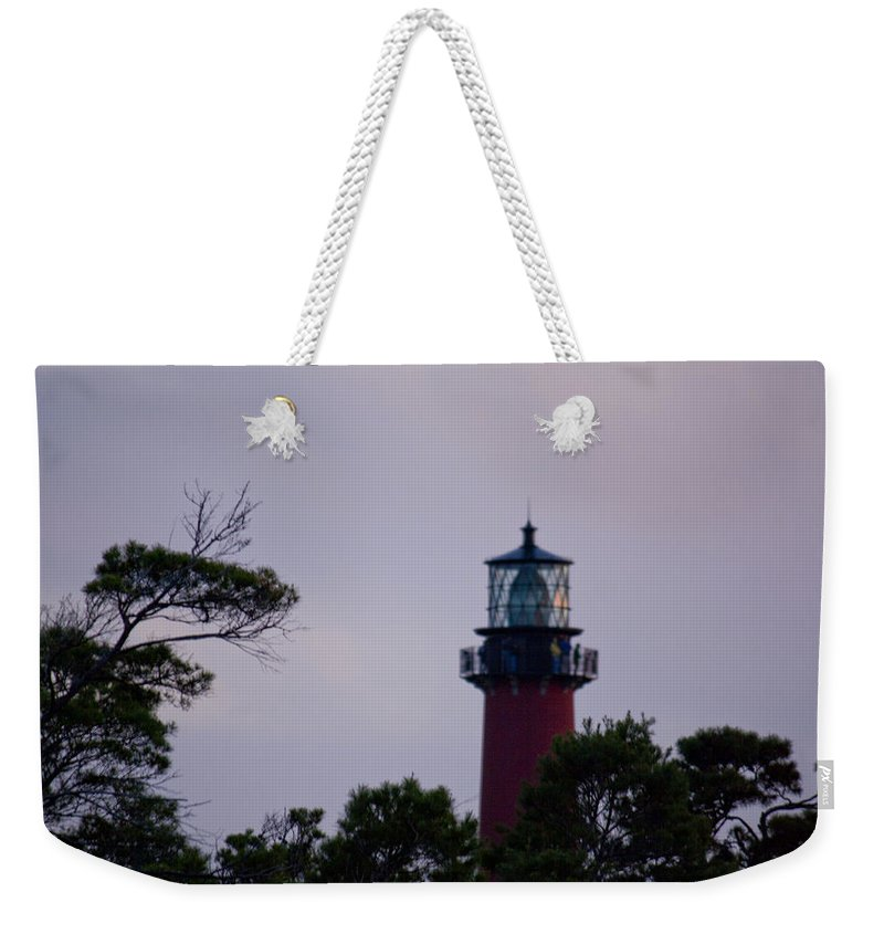 Jupiter Inlet Weekender Tote Bag featuring the photograph Jupiter Lighthouse by Donna Walsh