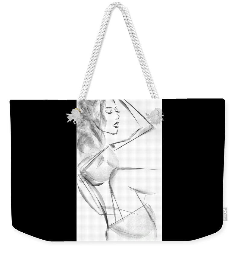 Sketch Weekender Tote Bag featuring the mixed media Just A Girl by Marvin PhiRatio