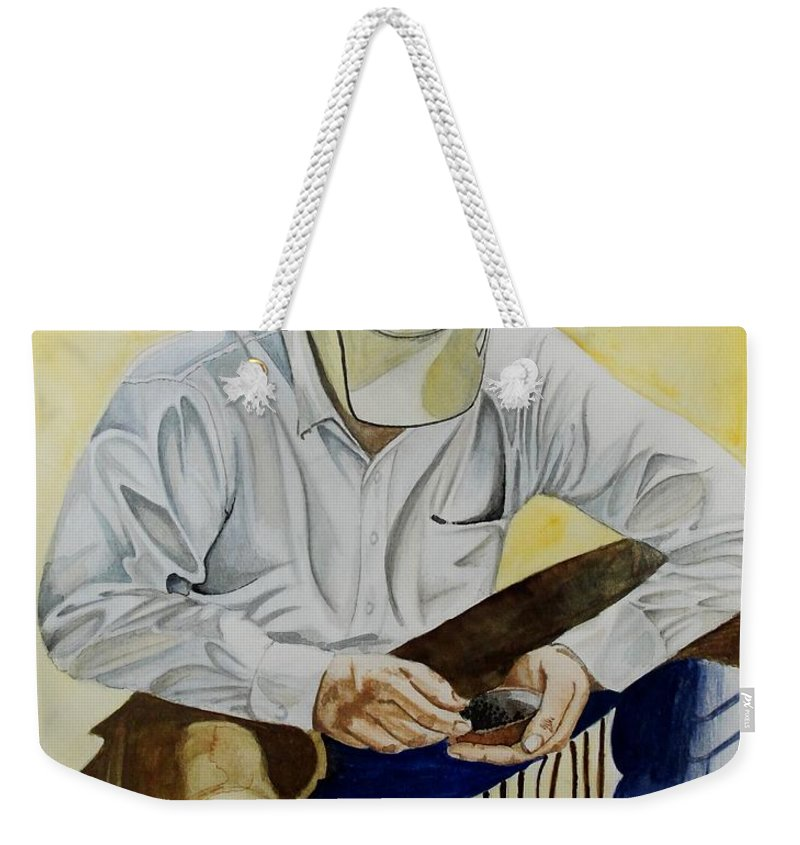 Boots Weekender Tote Bag featuring the painting Just A Pinch by Jimmy Smith