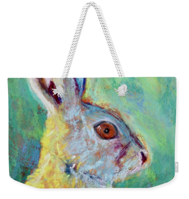 Hare Weekender Tote Bag featuring the painting Just Ahare by Melinda Etzold