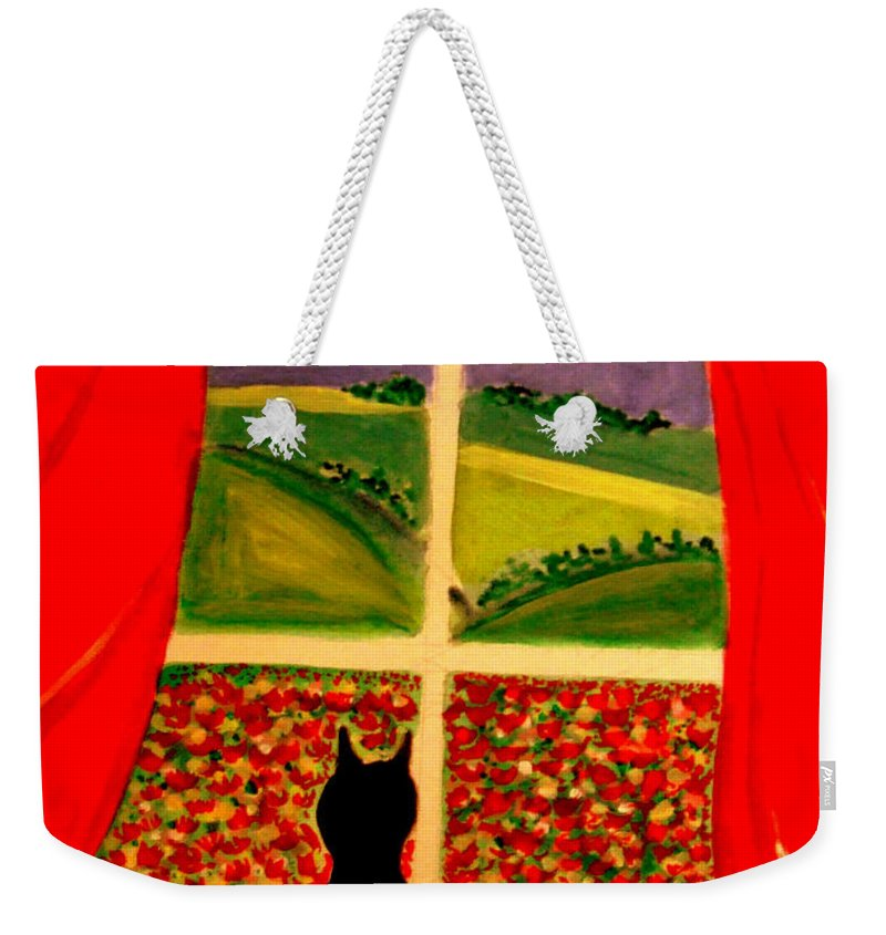 Cat Weekender Tote Bag featuring the painting Just Another Poppy Day by Rusty Gladdish