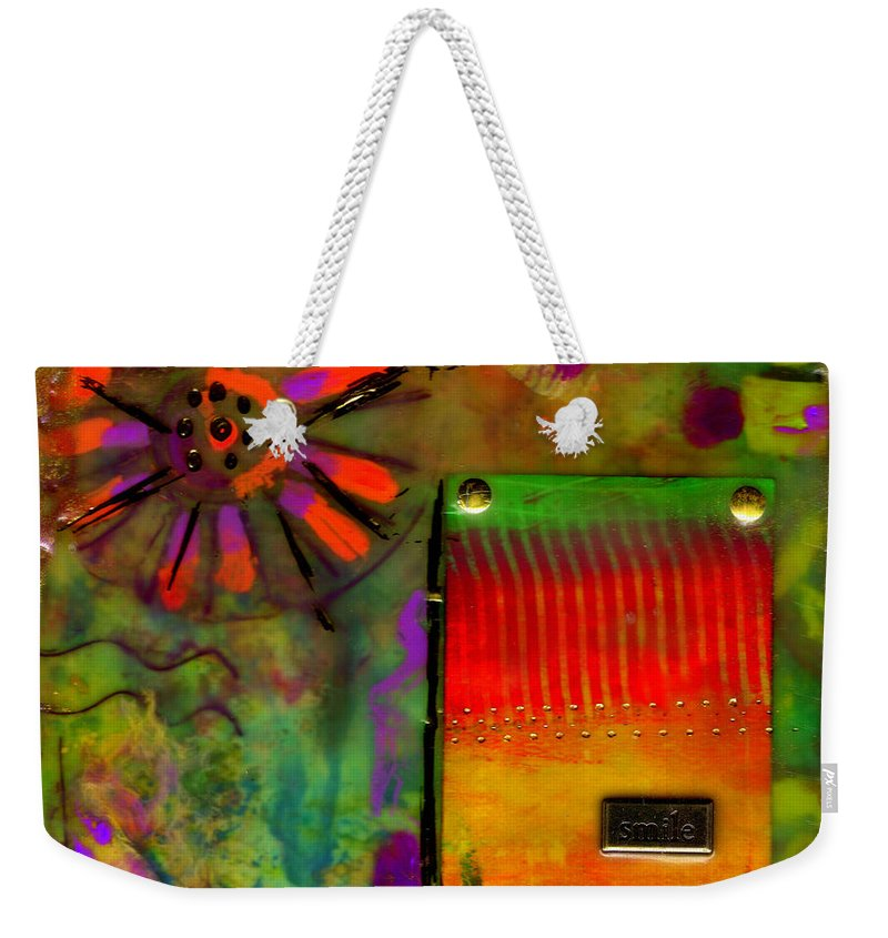 Wood Weekender Tote Bag featuring the mixed media Just Asking For A Smile by Angela L Walker