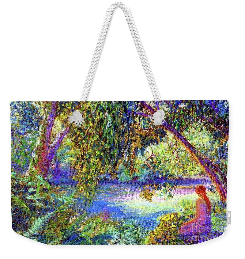 Woodland Weekender Tote Bag featuring the painting Just Be by Jane Small