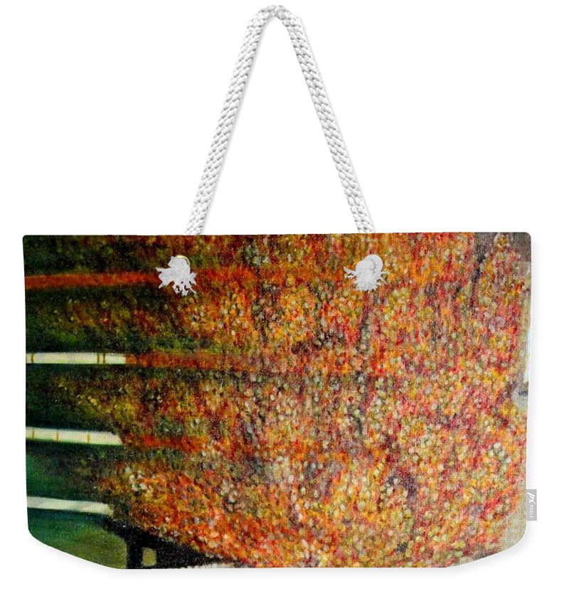 Fall Weekender Tote Bag featuring the painting Just Before Fall by Usha Shantharam