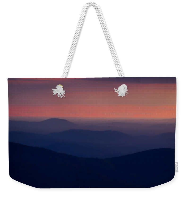Shenandoah Sunrise Weekender Tote Bag featuring the photograph Just Before Sunrise Thorofare Mountain Overlook Shenandoah by Martin Belan