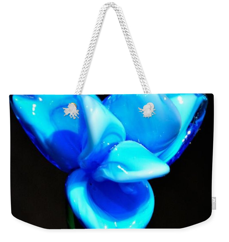 Flower Weekender Tote Bag featuring the photograph Just Blue by Jennifer Wick