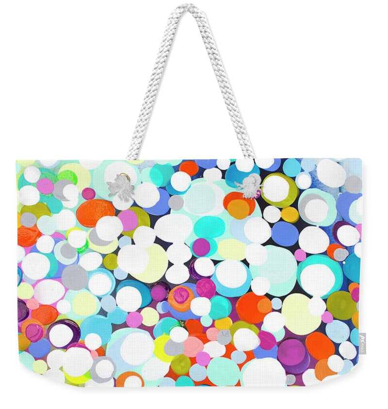 Abstract Weekender Tote Bag featuring the painting Just For Fun by Claire Desjardins