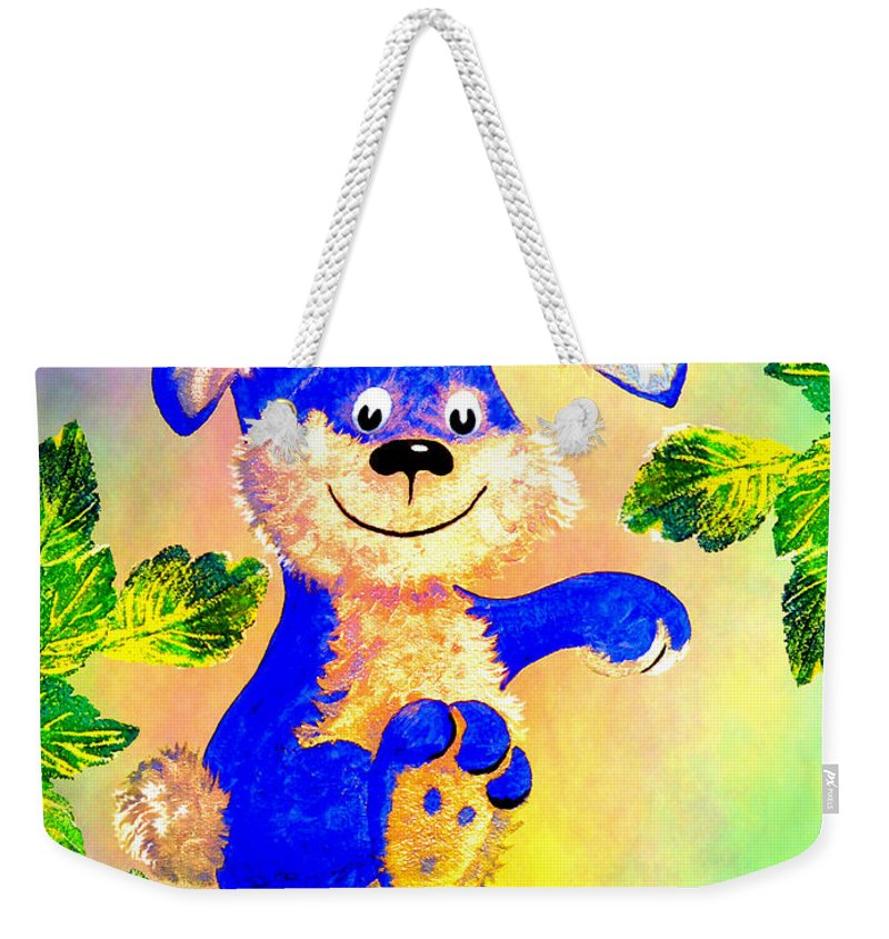 Bunny Weekender Tote Bag featuring the painting Just Hanging Around by Hanne Lore Koehler