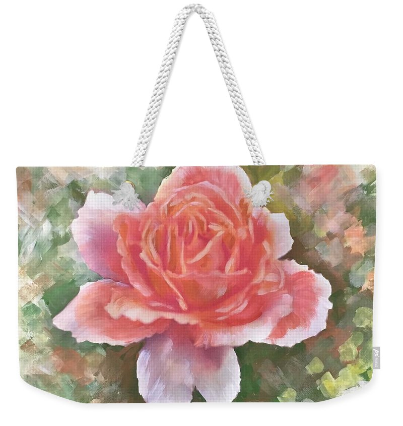 Just Joey Rose Weekender Tote Bag featuring the painting Just Joey Rose From The Acrylic Painting by Ryn Shell