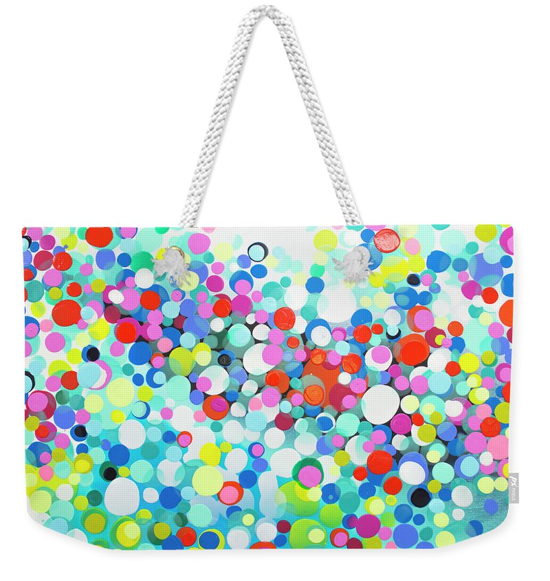 Abstract Weekender Tote Bag featuring the painting Just Let It by Claire Desjardins