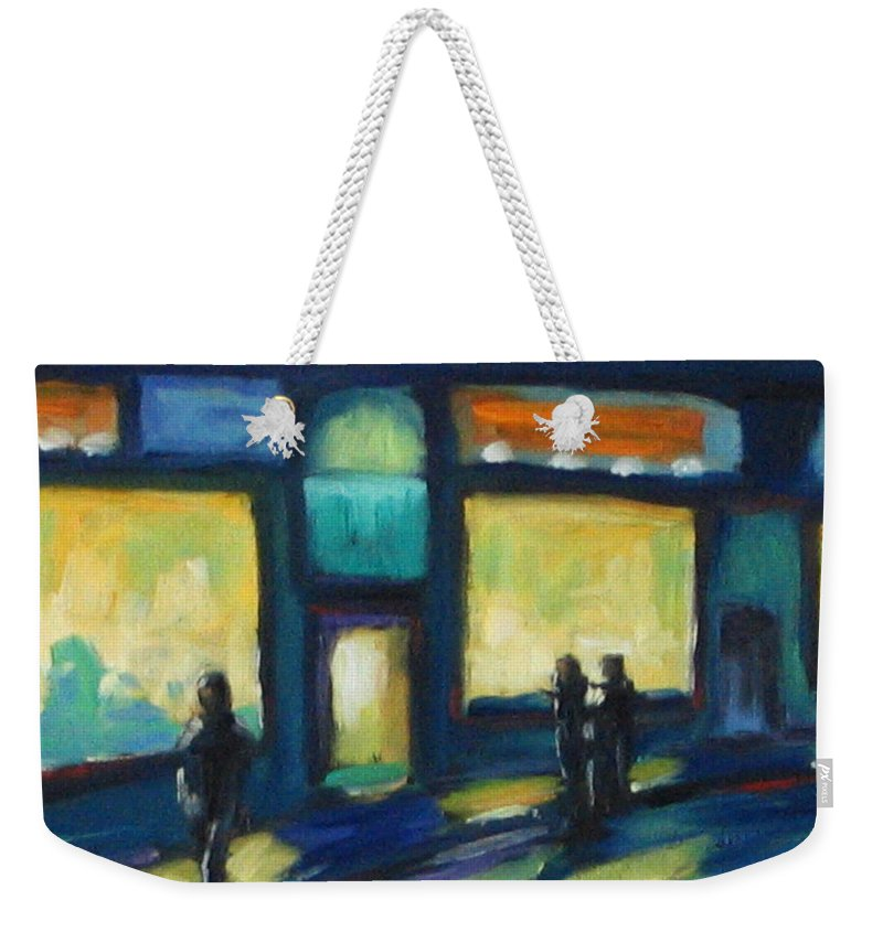 Town Weekender Tote Bag featuring the painting Just Looking by Richard T Pranke