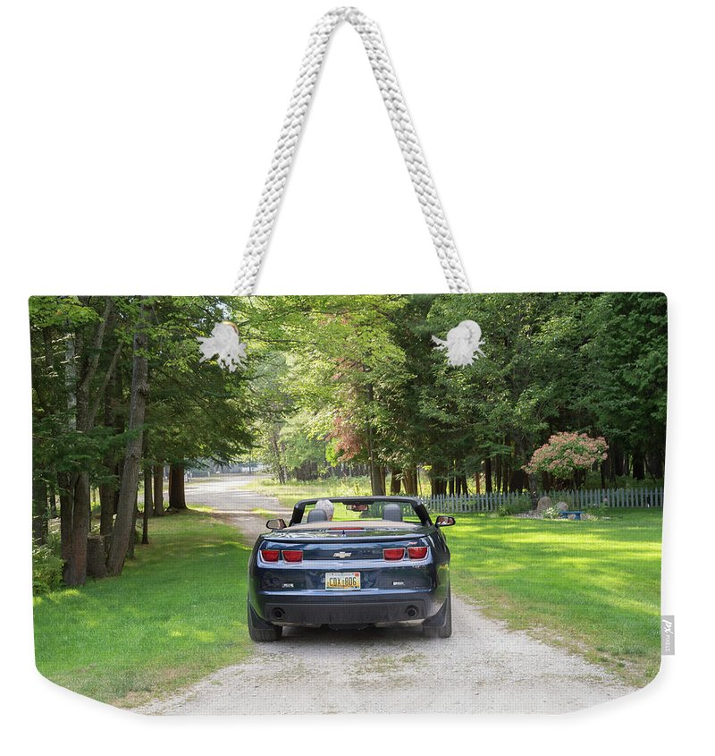 Weekender Tote Bag featuring the photograph Just Married In The Car by Debra Wales