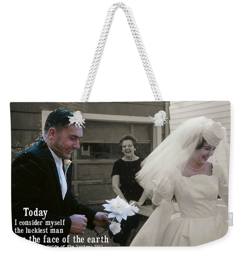 Marriage Weekender Tote Bag featuring the photograph Just Married Today Quote by JAMART Photography