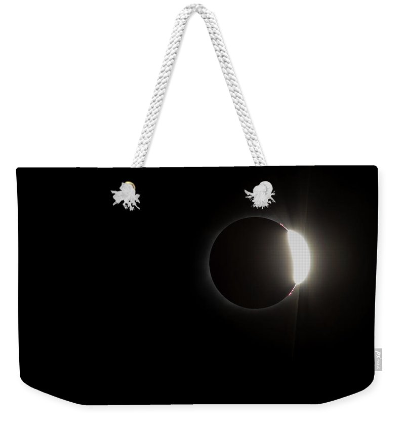 Sun Weekender Tote Bag featuring the photograph Just Past Totality by Leah Palmer