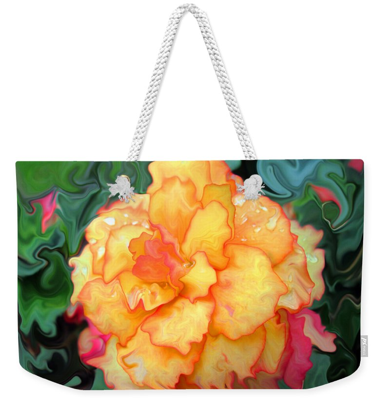 Abstract Flower Weekender Tote Bag featuring the photograph Just Peachy by Kathy Moll