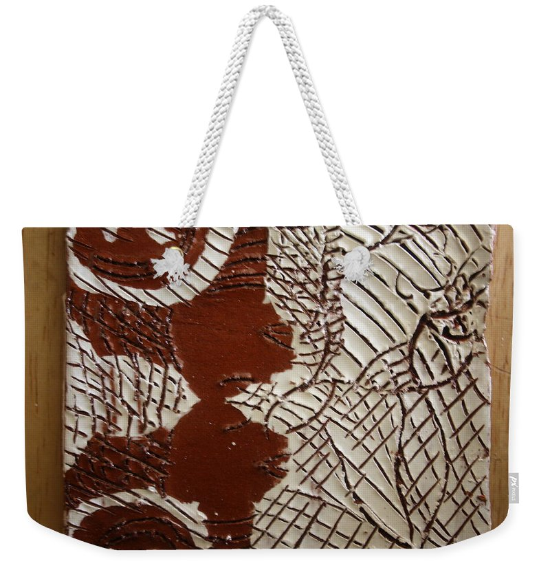 Jesus Weekender Tote Bag featuring the ceramic art Just Relax - Tile by Gloria Ssali