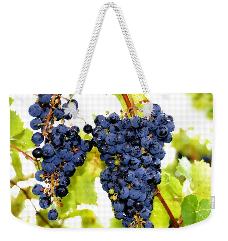 Grapes Weekender Tote Bag featuring the painting Just Ripe by David Lee Thompson