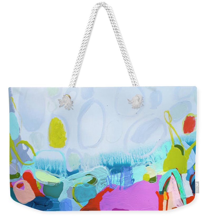 Abstract Weekender Tote Bag featuring the painting Just Sing by Claire Desjardins