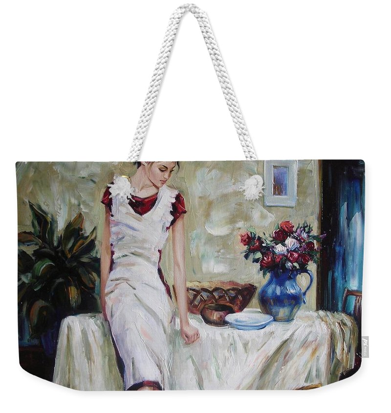 Figurative Weekender Tote Bag featuring the painting Just The Next Day by Sergey Ignatenko