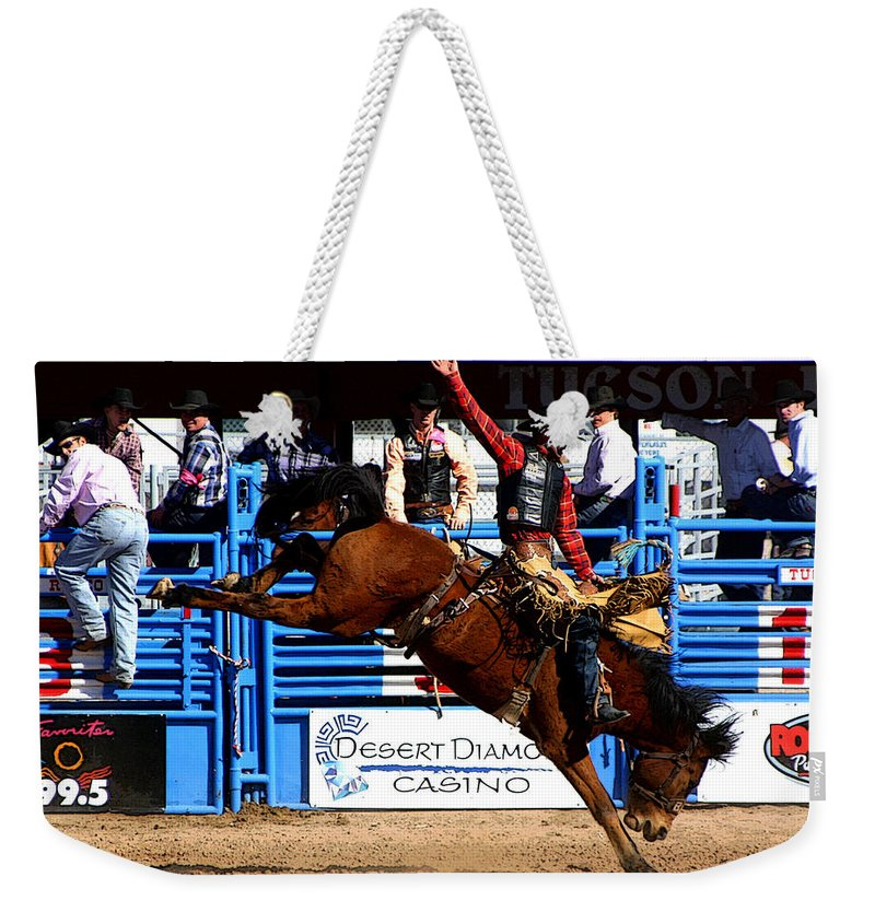 Rodeo. Rodeos Weekender Tote Bag featuring the photograph Just Two More Seconds To Go by Joe Kozlowski
