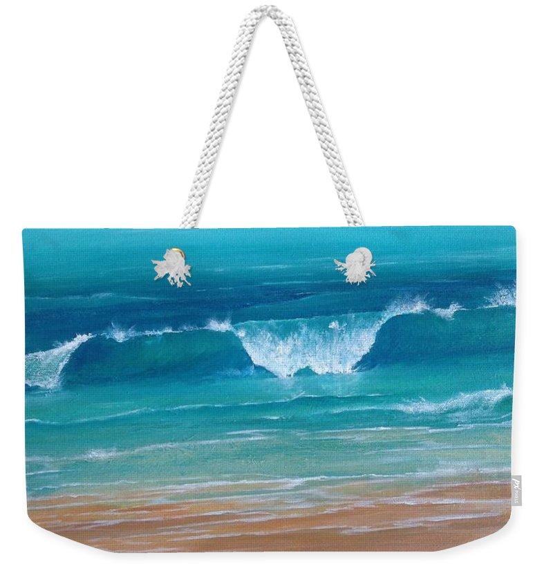 Ocean Weekender Tote Bag featuring the painting Just Waving by T Fry-Green