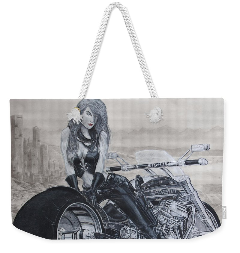 Bike Weekender Tote Bag featuring the drawing Justice by Kristopher VonKaufman