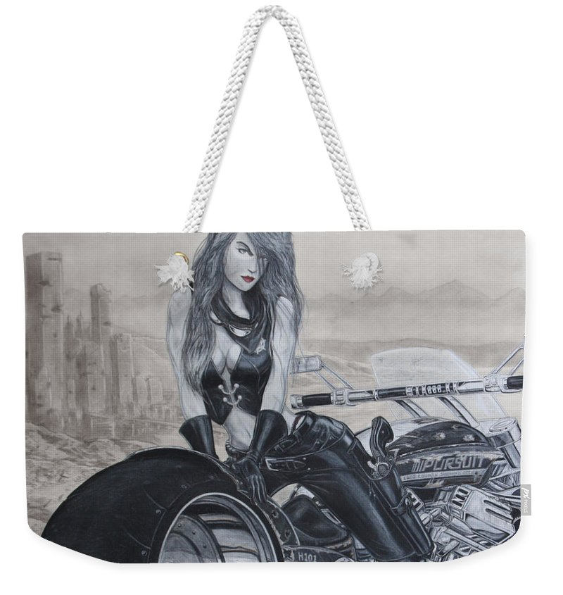 #bike Weekender Tote Bag featuring the drawing Justice by Kristopher VonKaufman