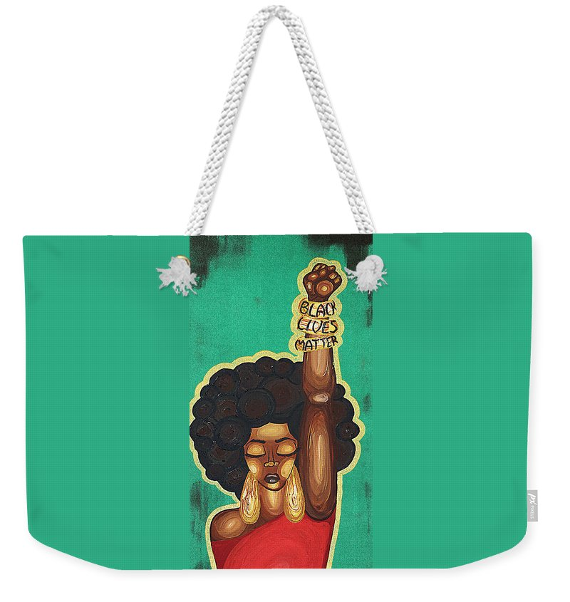 Aliya Michelle Weekender Tote Bag featuring the painting Justice Wanted by Aliya Michelle