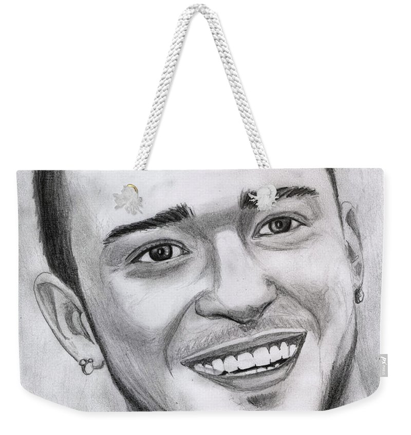 Justing Timberlake Weekender Tote Bag featuring the drawing Justing Timberlake Portrait by Alban Dizdari