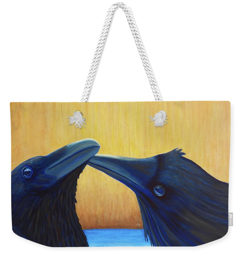 Ravens Weekender Tote Bag featuring the painting K And B by Brian Commerford