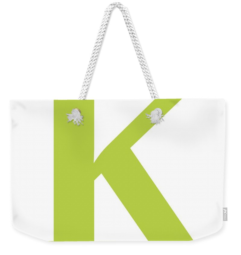 K Weekender Tote Bag featuring the digital art K In Spring Green Typewriter Style by Custom Home Fashions